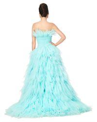 Oscar de la Renta - Blue Strpls Crush Pleated Tiered Gown - Lyst