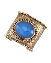 Stephen Dweck - Metallic Engraved Blue Agate Cuff - Lyst