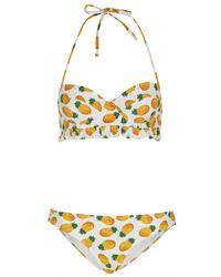 TOPSHOP - Yellow White Pineapple Bikini - Lyst