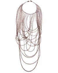 Brunello Cucinelli Brown Beaded Strand Necklace