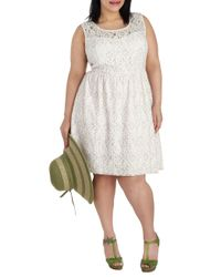 ModCloth Natural Dainty Dally Dress in Ivory Plus Size