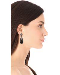 One By Black Crown Double Drop Earrings