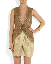 Vera Wang Metallic Embroidered Silk-Mesh and Organza Jacket
