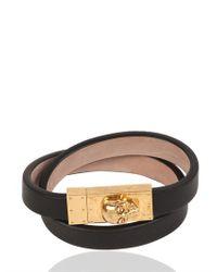 Alexander McQueen Black Skull Leather Double Bracelet