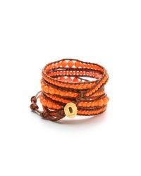 Chan Luu Orange Neon Beaded Wrap Bracelet