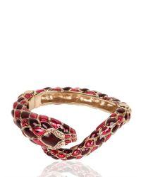 Roberto Cavalli - Pink Snake Swarovski Metal Bracelet - Lyst