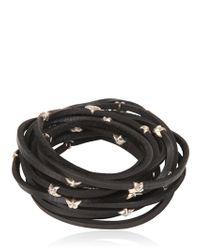 Tomasz Donocik Metallic Sterling Stars Leather Wrap Bracelet