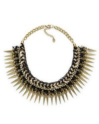 Zara | Metallic Black and Golden Plaited Necklace | Lyst