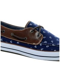 ASOS Blue Boat Shoes with Anchor Print for men