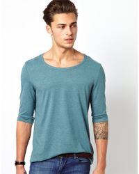 e3479e4f4dc0 ASOS Three Quarter Sleeve T-shirt with Bound Scoop Neck in Green for ...
