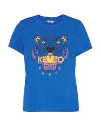 KENZO Blue Tigerprint Cotton Tshirt