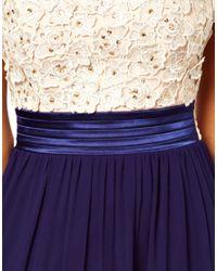 Little Mistress - White Halter Maxi Dress with Flower Applique - Lyst