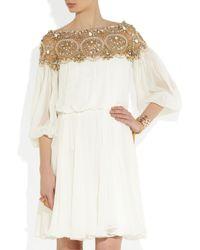 Marchesa White Embellished Silk chiffon Dress