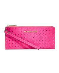 MICHAEL Michael Kors Purple Small Jet Set Perforated Saffiano Clutch