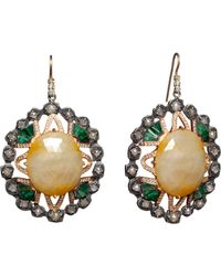 Nak Armstrong | Green Sapphire Emerald Diamond Earrings | Lyst