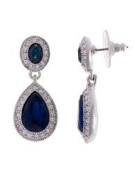 Carolee Metallic Faceted Oval Double Drop Earrings
