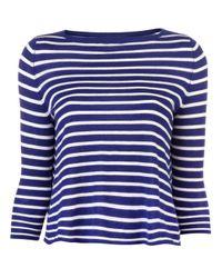 DEMYLEE Blue Rory Crew Striped Sweater
