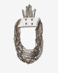 Jenny Bird White Leather and Chain Collar Necklace