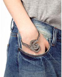 ASOS Collection Metallic Stone Knot Bracelet