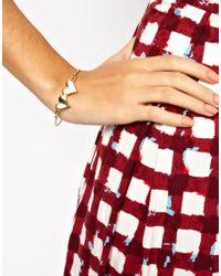 ASOS Collection - Metallic Asos Double Heart Skinny Bangle - Lyst