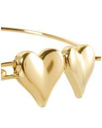 ASOS Collection - Metallic Asos Double Heart Skinny Bangle - Lyst