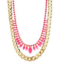 ASOS Collection - Pink Limited Edition Necklace Multipack Stone Chain - Lyst