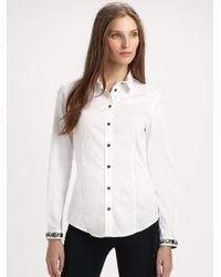 Burberry | White Jeweled Cotton Blouse | Lyst