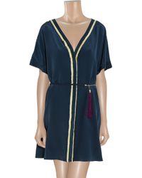 Elizabeth and James Blue Karina Belted Silkcrepe Dress