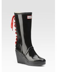 HUNTER | Black Glossy Rubber Wedge Rain Boots | Lyst