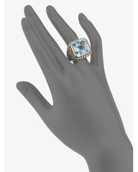 John Hardy - Metallic Blue Topaz Sterling Silver and 18k Yellow Gold Ring - Lyst