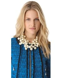 Kenneth Jay Lane White Multi Strand Cluster Necklace