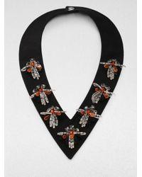 Marni Black Embellished Vneck Collar Necklace