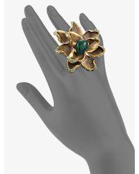 Oscar de la Renta - Metallic Russian Gold Flower Ring - Lyst