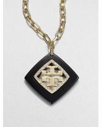 Tory Burch - Black Mccoy Pendant Necklace - Lyst