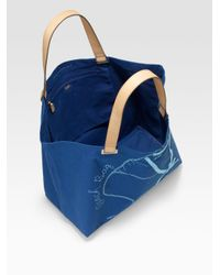 Anya Hindmarch - Blue Large Canvas Beach Tote - Lyst