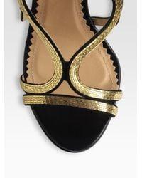 Aquazzura - Black Martini Goldtone Chain Leather Suede Sandals - Lyst