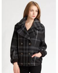 Burberry Brit | Gray Wool Tweed Bomber Jacket | Lyst