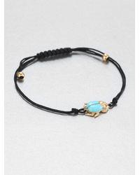 Diane Kordas | Black Turquoise, Diamond & 18k Yellow Gold Beetle Cord Bracelet | Lyst