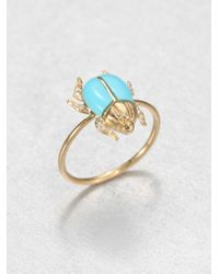 Diane Kordas | Metallic Turquoise, Diamond & 18k Yellow Gold Beetle Ring | Lyst