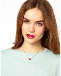 French Connection - Red Studded Heart Short Pendant Necklace - Lyst