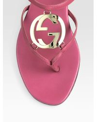 Gucci - Pink Thong Flat Sandals - Lyst