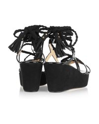 Jimmy Choo | Black Poppy Suede and Patent-leather Wedge Sandals | Lyst