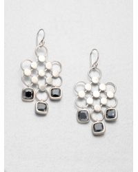 John Hardy | Metallic Dot Hematite & Sterling Silver Diagonal Square Drop Earrings | Lyst