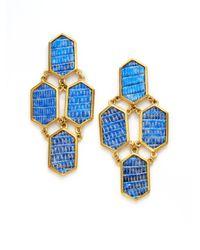 Kara Ross - Blue Metallic Lizard Hexagon Tiered Earrings - Lyst