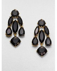 kate spade new york - Black Faceted Statement Chandelier Earrings - Lyst
