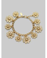 kate spade new york - Metallic Flower Charm Bracelet - Lyst