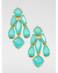 kate spade new york | Green Faceted Statement Chandelier Earrings | Lyst