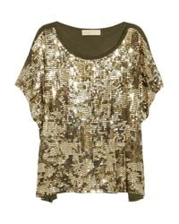 MICHAEL Michael Kors | Metallic Camouflage-pattern Sequined Top | Lyst