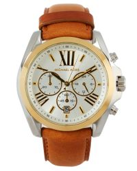 Michael Kors - Brown Chronograph Leather Strap Watch - Lyst