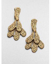 Oscar de la Renta | Metallic Cast Lace Earrings | Lyst